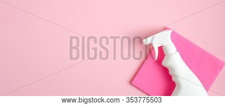 Cleaner Spray Bottle And Rag On Pink Background. Cleaning Service Banner Mockup. Housecleaning And H