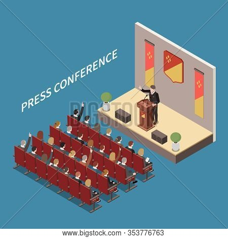Press Conference At Central Hall Isometric Composition With Speaker On Podium Media Representatives
