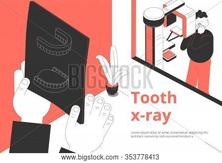 Dental Clinic Toothache Treatment And Diagnosis Isometric Composition With Patient Waiting Xray Imag