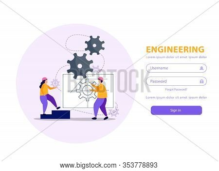 Engineering Mobile Application With Username And Password Flat Vector Illustration