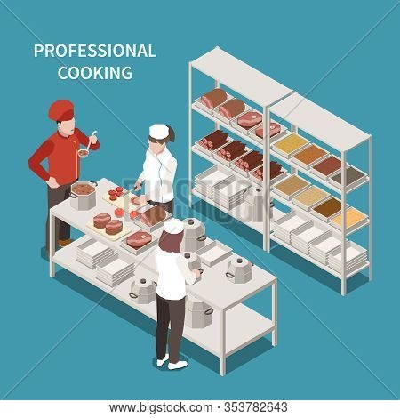 Commercial Kitchen Food Preparation Area With Professional Cooking Staff And Chef Tasting Soup Isome