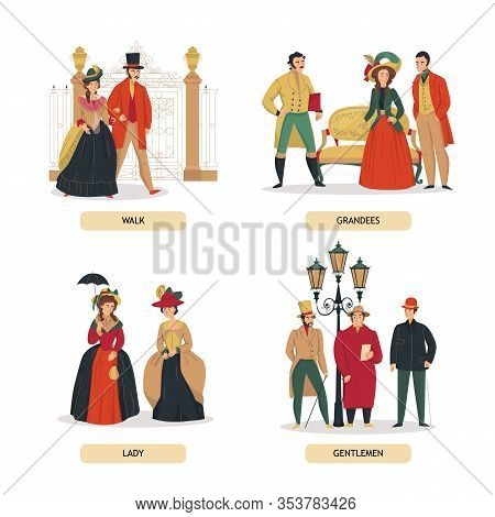 18th 19th Century Old Town Fashion Compositions Set With Text And Human Characters Of Aristocratic P