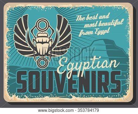 Ancient Egypt, Travel Souvenirs And Historic Antiquities Shop Retro Vintage Poster. Vector Egypt Tou