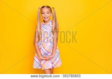 Photo Of Funny Beautiful Small Lady Good Mood Pretty Long Tails Hairdo Flirty Girlish Shy Person Wea