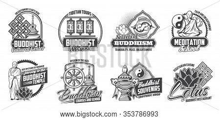 Buddhist Religious Symbols, Meditation School And Buddhist Cuisine Restaurant Sign. Vector Buddhism