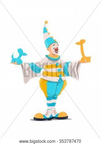 Clown With Balloon Animals, Circus And Funfair Carnival Cartoon Character, Vector Icon. Clown In Whi