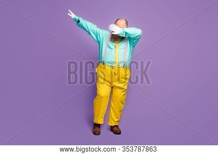 Full Body Photo Of Cool Funky Crazy Overweight Man Dance Dancer Dabber On Night Club Wear Teal Pants