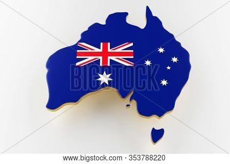 3d Map Of Australia. Map Of Australia Land Border With Flag. Australia Map On White Background. 3d R
