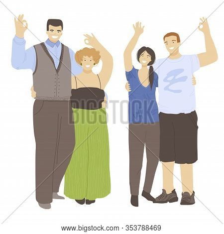 Vector Cartoon Set Of Two Young Happy Cheerful Couple, Hugging Each Other And Waving Hands, Showing