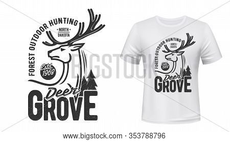 Deer Animal T-shirt Print Of Hunting Sport Custom Apparel Vector Design. Reindeer Stag Or Buck Mamma