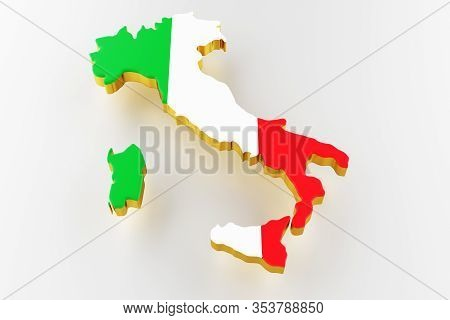 3d Map Of Italy. Map Of Italy Land Border With Flag. Italy Map On White Background. 3d Rendering