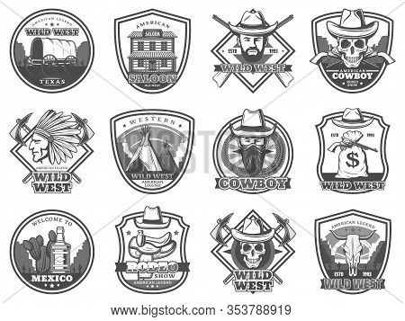 American Western Icons, Rodeo Show And Cowboy Saloon, Texas Bandit And Robber Stagecoach. Vector Wil