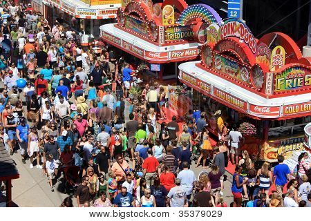 A Crowded Midway At The 2012 Wisconsin State Fair.