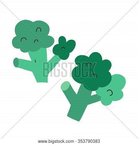 Cute Broccoli Icon, Isolated Vector Illustration, Green Healthy Vegetable, Hand Drawn Clipart Of Bro