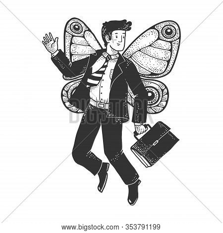 Businessman With Butterfly Wings Sketch Engraving Vector Illustration. T-shirt Apparel Print Design.