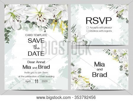 Floral Card For Wedding Invitations. White Lilies, Eucalyptus, Round Golden Frame, Watercolor Stroke