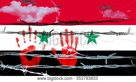 Illustration.hands Of Syrian Refugee  Against The Background Of The Flag Of Syria And Barbed Wire. I