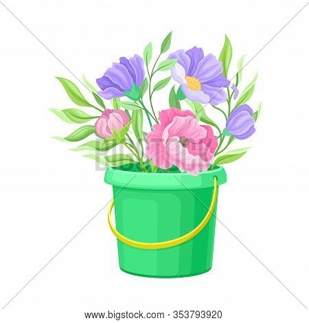 Showy Flowers Standing In Garden Bucket Vector Illustration