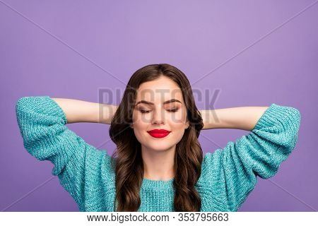 Closeup Photo Of Pretty Peaceful Lady Holding Hands Behind Head Resting Spend Free Time Leisure Eyes