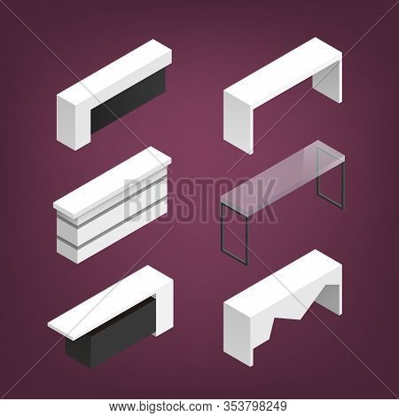 Vector Isometric Illustration With Details For Indoor Trade Exhibition Expo-stand Zone For Presentat
