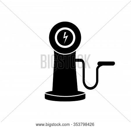 Electric Car Refill Black Icon, Vector Illustration