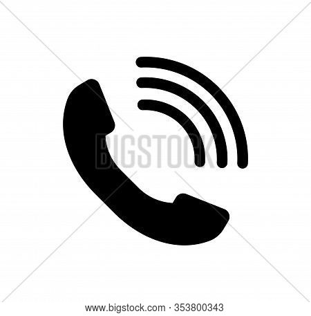 Phone Icon, Handset Icon With Waves - Vector