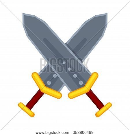 Cartoon Metal Cross Broadswords. Medieval Festival Props. Fairy Tale Theme Vector Illustration For I