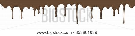 Chocolate Syrup Drip Pattern Isolated On A White Background