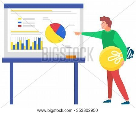 Man Standing Near Statistics Chart And Looking Ahead, Lamp In Hand. Business Tools For Innovations A