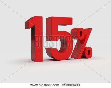 3d Render: Red 15% Percent Discount 3d Sign on White Background, Special Offer 15% Discount Tag, Sale Up to 15 Percent Off, Fifteen Percent Letters Sale Symbol, Special Offer Label, Sticker, Tag