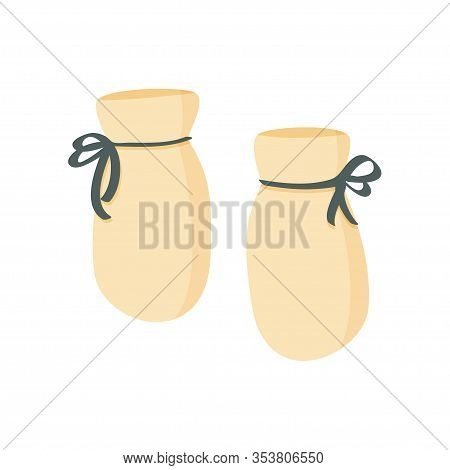 Yellow Baby Booties. Simple Vector Illustration, Isolated On White Background.