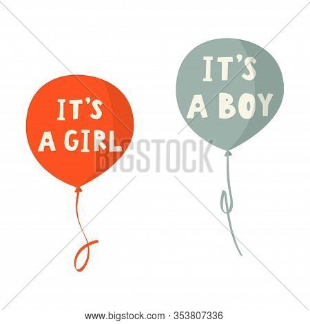 Its A Boy And Its A Girl Vector Hand Drawn Card. Colorful Balloons.