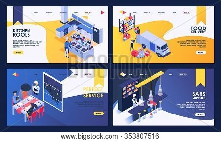 Isometric Restaurant Vector Illustration. Kitchen With Cooking Food, People Ordering Dinner In Resta