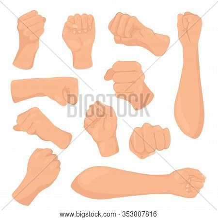 Cartoon Fists Vector Illustrations. Woman Hand With Clenched Fist, Female Caucasian Clenches Palm Ha