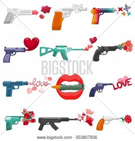 Gun Flowers And Love Symbols Vector Illustrations. Cartoon Weapon Producing Loving Word Gunshot, Red