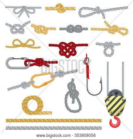 Knots Set Vector Illustrations. Knotted Strong Rope With Different Complicated Knots, Loop, Bow, Fis