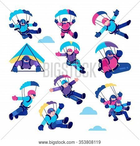 Paragliding Happy People Vector Illustrations. Cartoon Active Paraglider Smiling Skydiver In Clouds,