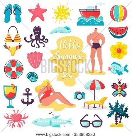 Summer Beach Sea Holidays Vector Illustrations. People In Swimsuits, Beach Accessories Sea Animals,
