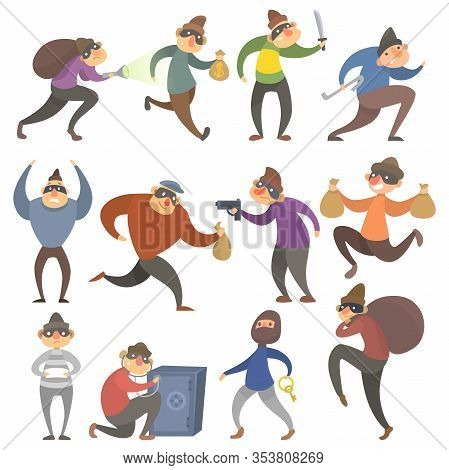 Thief, Robber Characters Set Vector Illustrations. Cartoon Comic Criminal Male Burglar In Mask, Thie