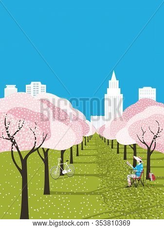 Public Park Outdoors Leisure Activity. Bloooming Cherry Trees In City Garden Background. Bicyclist G