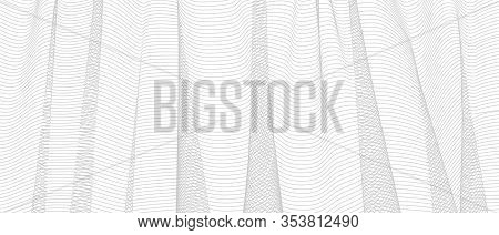 Abstract Gray Net With Vertical Drapery. Squiggle Thin Lines, Crisscross Curves. Vector Monochrome S