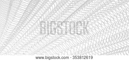 Line Art Pattern, Textile, Net, Mesh Textured Effect. Gray Tangled Lines, Squiggly Thin Curves. Mono
