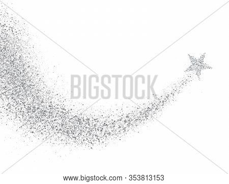 Star Dust Trail With Glitter Sparkling Particles On White Background. Silver Glittering Space Comet