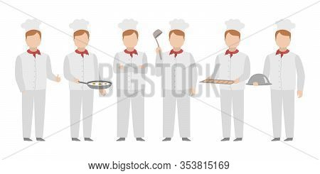 Chief In White Toque Standing In Diverse Poses. Vector.