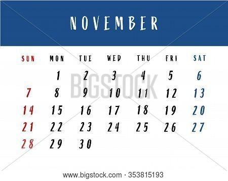 Calendar For November 2021. European Calendar For November. Illustration.