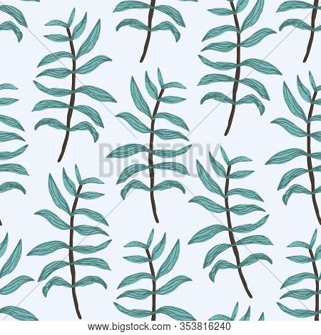 Tender Greenery Seamless Pattern With Mess Of Green And Blue Hand Drawn Fern Leaves And Branches On