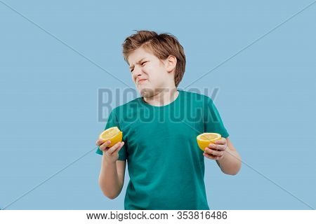 Nice Boy Taste A Fresh Lemon, Sour Taste,
