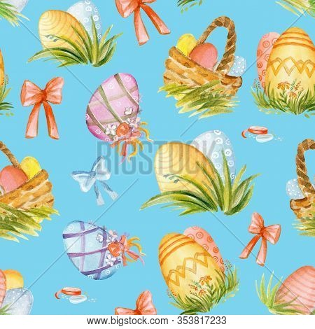 Colorful Seamless Pattern With Easter Concept. Easter Watercolor Pattern With Easter Eggs, Ribbons A