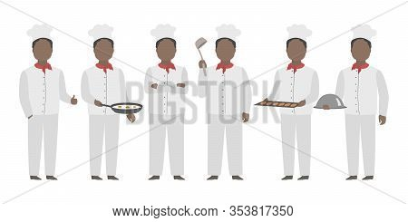 African American Chief In White Toque Standing In Diverse Poses. Vector.