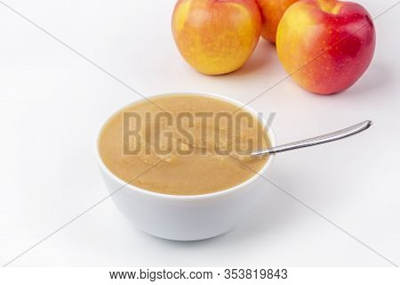 Fresh Homemade Applesauce. The Concept Of Proper Nutrition And Healthy Eating. Organic And Vegetaria